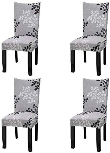 YISUN Stretch Dining Chair Covers Removable Washable Dining Room Chair Slipcovers Spandex Chair Slipcover Chair Covers for Dining Room Set of 4, Grey / Plain