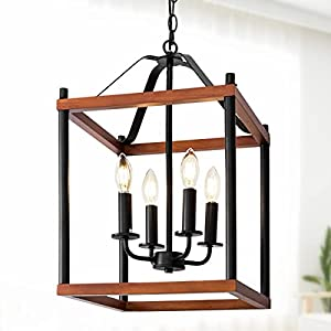 4-Light Wood Chandelier, Adjustable Height Rustic Lantern Pendant Light, Hanging Farmhouse Light Fixture for Entryway, Kitchen Island, Foyer, Dinning Room, Breakfast Area, Stairwell(Color: Cherry)