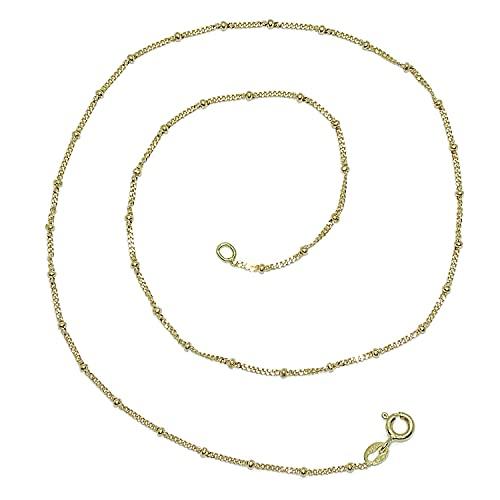 Cadena para mujer de oro de 18k barbada maciza con bolas de 40cm de larga. Ideal para llevar sola o con tus colgantes favoritos. 2.50gr de oro de 18k.