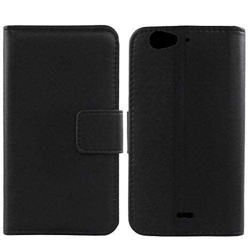 Gukas Design Echt Leder Tasche Für Wiko Darkfull Hülle Handy Flip Brieftasche mit Kartenfächer Schutz Protektiv Genuine Premium Hülle Cover Etui Skin Shell (Schwarz)