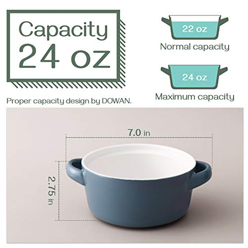 DOWAN Soup Bowls with Handles 24 Ounces, Ceramic Serving Soup Bowl Set for kitchen,French Onion Soup Crocks Oven Microwave Dishwasher Safe, Airy Blue Large Stackable Handled Bowls Set of 4