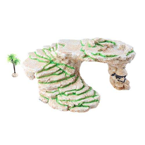 Tortue Contactes plate-forme de Schiste Rock den étape des pilotes Gecko Grotte Cachette avec plante artificielle, grande