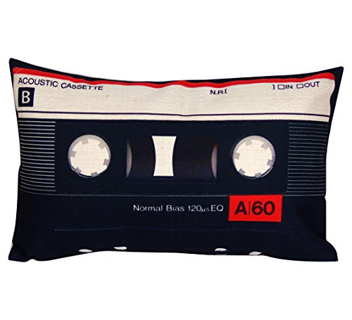 DECOPOW Cassette Tape Throw Pillow,Gift to Geeks Throw Pillow Covers 12 X 20 Inches, Cover Only