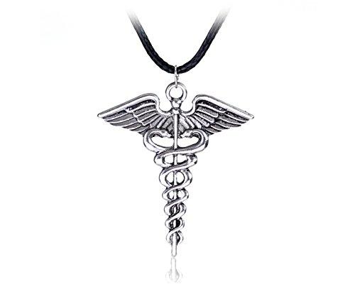 Glitz Percy Jackson serpiente alas varita mágica Caduceo colgante collar