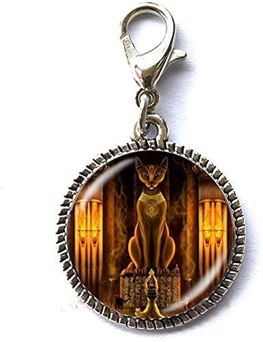Joyería del Señor Egipcio Antiguo Gato Egipcio Diosa Estatua Cremallera Tirar Encanto de Cremallera Joyería Arte Fotografía Joyería Regalo de Cumpleaños