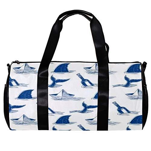 Anmarco Seesack für Damen und Herren, Messer und Hai, Sport, Fitnessstudio, Tragetasche, Wochenende, Übernachtung, Reisetasche, Outdoor-Gepäck, Handtasche