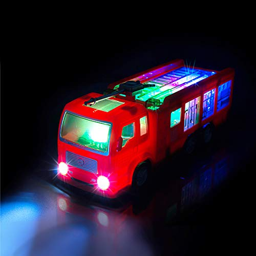 ToyThrill Electric Fire Engine Truck Toy with Automatic Sensor, 3D Star Flashing Lights and Siren Music for Toddlers & Kids Ages 3+ yrs
