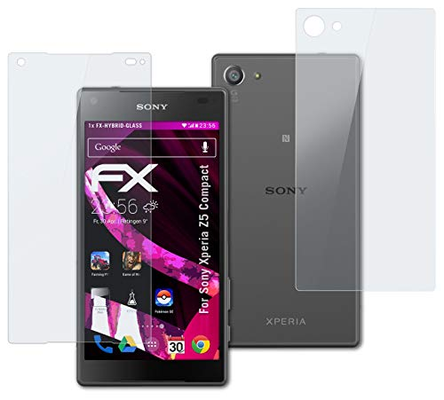 atFolix Glasfolie kompatibel mit Sony Xperia Z5 Compact Panzerfolie, 9H Hybrid-Glass FX Schutzpanzer Folie (1er Set)