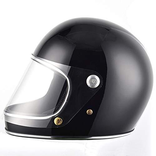 Casco de Moto Estilo japonés Full Face Rider Fiberglass Retro con Lente Cascos de Seguridad-Negro, M