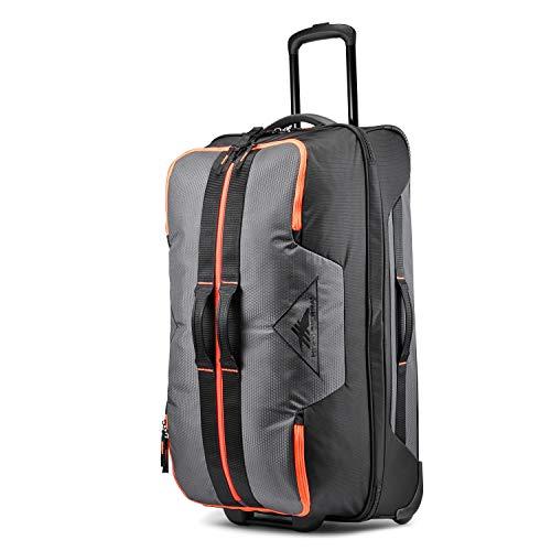 High Sierra Dells Canyon Wheeled Duffel Bag, Mercury/Black/Electric Orange, 32-Inch