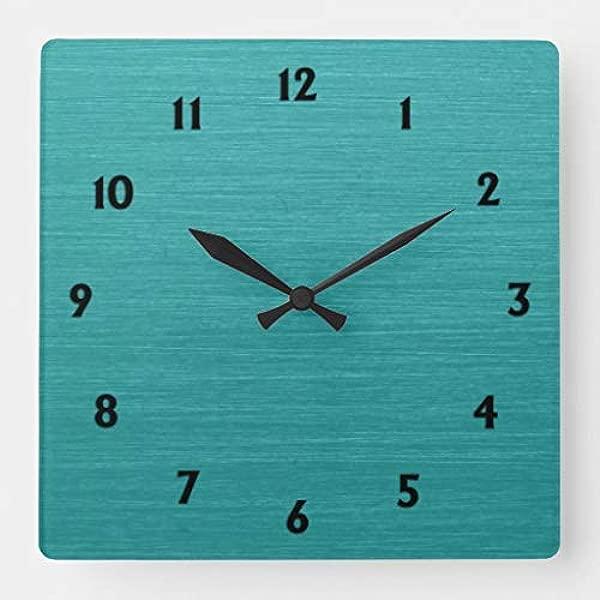Tatykoushi 15 乘 15 英寸挂钟拉丝蓝绿色金属外观 Kash001 带黑色数字方形挂钟客厅时钟家居装饰时钟