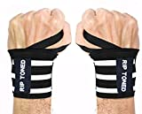 """Rip Toned Wrist Wraps by 18"""" Professional Grade with Thumb Loops - Wrist Support Braces - Men & Women - Weight Lifting, Crossfit, Powerlifting, Strength Training - Bonus Ebook (Black/White Stiff) crossfit gloves Jan, 2021"""