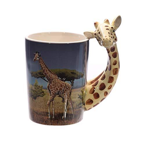 ACYOUNG 3D Keramik Kaffeetassen, Becher mit Tier Griff, Kreativer Lustiger Geschenk-Becher (Giraffe)