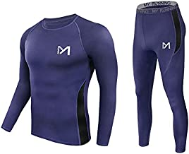 Men's Thermal Underwear Set, Sport Long Johns Base Layer for Male, Winter Gear Compression Suits for Skiing Running (Blue, Large)