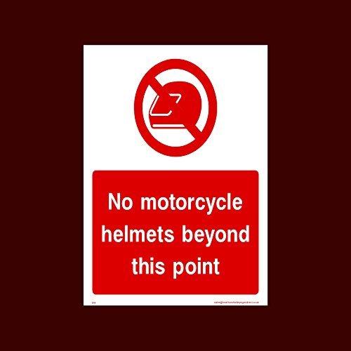 Geen motorhelmen verder dan deze puntsticker teken (S14) grappige waarschuwingsstickers voor eigenschap, veiligheid teken sticker labels, zelfklevende Vinyl Decal