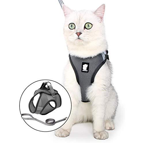 Fitlife Katzengeschirr mit Leine Ausbruchsicher Weicher Netz-Holster Brustgeschirr Geschirr für Katzen Hunde Welpengeschirr -M