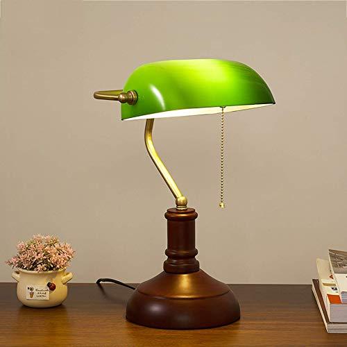 Waqihreu - Lámpara Retro de banqueros, lámpara de Escritorio Verde, Oficina de Estudio, iluminación Tradicional, lámpara de Lectura Junto a la Cama, Pantalla de Vidrio, Base de Madera, Poste de lámpa