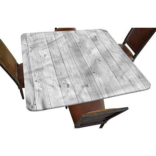 Becanbe Decorative Elastic Edged Square Fitted Tablecloth,Oak Timber Wood Texture Image Polyester Indoor Outdoor Fitted Table Cover for Home Kitchen Dining Room Fit Square Table up to 48'