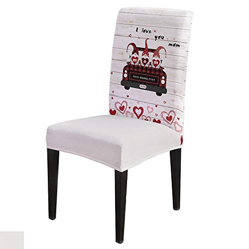 6 PCS Stretchy Dining Chair Slipcovers for Home Ceremony Banquet, Wedding, Removable Anti-Dirty Furniture Protector for Kids Pets, Mother's Day Love Shape Truck with Dwarf-Best Mama Ever on Wood
