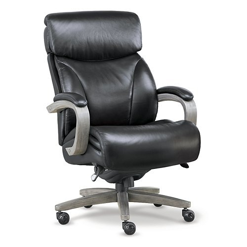 Laz Boy Revere Big and Tall Executive Office Chair in Top Grain Leather Black Top Grain Leather/Charcoal Wood