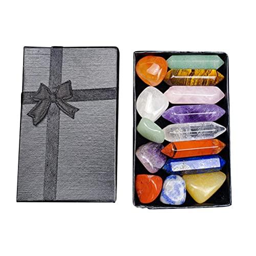 Gazaar Kit de cristais 7 chacras, conjunto de sete chacras hexagonais pilares poder meditação amuleto yoga com caixa de presente