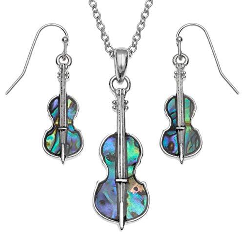 Violin Paua schaal gerhodineerd hanger en oorbellen set