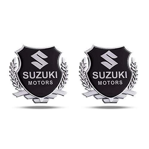 TGCF 2ST Wheat Auto Metall Chrom Schriftzug Aufkleber Schutzblech Emblem 3D Plakette Sports Car Metal Decal Sticker Badge,8,5 * 8Cm,Silber,for Suzuki