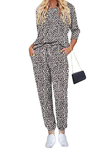 ORANDESIGNE Pijamas Mujer Invierno Pijamas Impresión de Leopardo Mangas Larga Camiseta y Pantalones Conjunto de Ropa de Dormir 2 Piezas B Leopardo XS