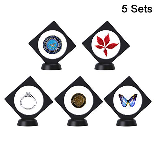 NIUXX Coin Display Box, 3D Floating Frame Holder Stamp Collecting Album Stand Cases for Collectors, Casino Poker Chip & Challenge Coin Exhibit Boxes with Base, 9 x 9 x 2 cm, 5-Pack