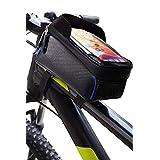 LEZOPHIS 自転車バッグ 自転車 トップチューブバッグ フレーム バッグ 防水 6.5インチスマホ対応 サイクリング用品 ウーバー 配達 (ブルー)