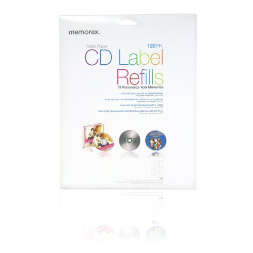 Memorex CD/DVD Labels 120-Pack, White