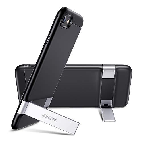 ESR iPhone SEケース 第2世代 iPhone8ケース iPhone7ケース 2020 新型 メタルキックスタンドケース [縦置き&横置き対応スタンド] [落下保護性能UP] 全面保護 Qi急速充電対応 柔軟性抜群TPUソフト背面 – ブラック