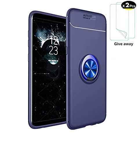 Azihone Compatible Samsung Galaxy J730 2017/J7 Pro Funda,Antigolpes/Anti-arañazos,con 360 Grado Girar Dedo Anillo Hebilla,(Azul) Funda Protectora de TPU de Silicona Suave Ultrafina