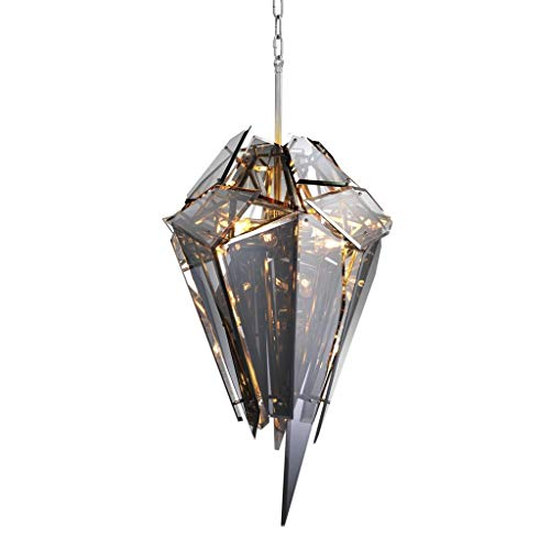 Smoke Glass Diamond Shaped Chandelier | Eichholtz Shard | Modern Luxury Esculptural Pendant Hanging Lights for Entryway, Lounge and Dining Area