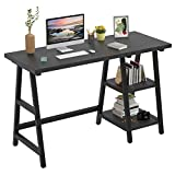 """Foxemart Trestle Computer Desk 47 Inch Study Writing Home Office Desk with Storage Shelves, 2-Tier 47"""" Modern Sturdy PC Laptop Gaming Desk, Multifunctional Wooden Work Table, Easy to Assemble, Black"""