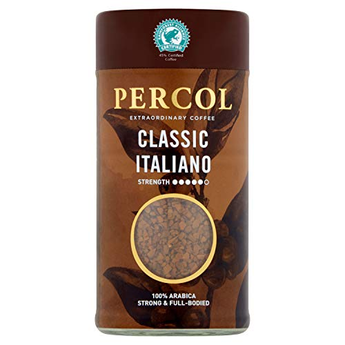 PERCOL Rainforest Alliance Classic Italiano Instant Coffee Strong, Dark Full-Bodied Classic Blend 100% Arabica Beans Freeze-Dried 100g