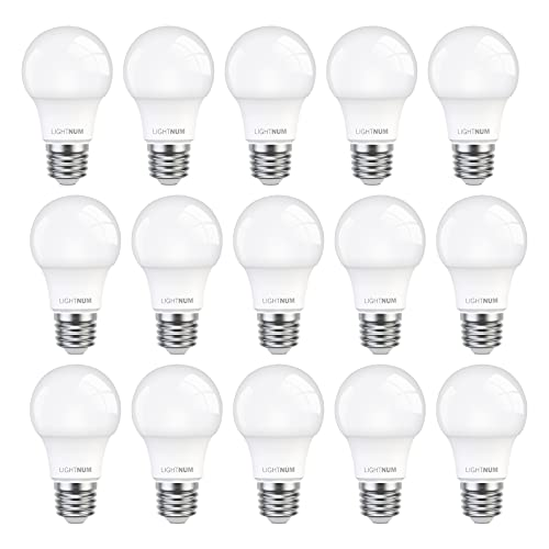 E27 LED Lampe, 15er-Pack, LIGHTNUM 9W LED Birne Ersetzt 60W Halogenlampen, 5000K Kaltweiß, 806 Lumen, E27 LED Kaltweiss, Edison Glühbirne E27, A60 LED Leuchtmittel, Matt, Kolbenform, Nicht Dimmbar