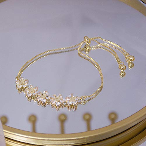 shenlanyu Bracelet Luxury Super Shine Flower Bracelet for Women Cute Romantic Daily String