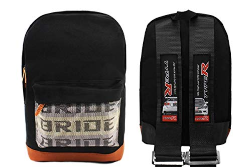 New Bride Racing Backpack with TYPE R Racing Harness Shoulder Straps Black