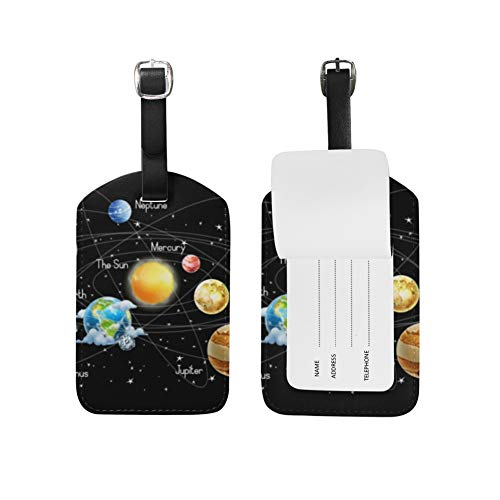 Solar System Luggage Tags Leather ID Label for Kids Boy Girl 1 Piece