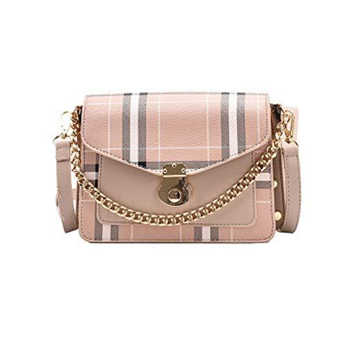 Bolso de hombro para mujer-bolso de cadena de cuero de pu-bolso de hombro exquisito-bolso cuadrado pequeño a cuadros en contraste-bolso de compras de moda para todos los partidos (20*15*8cm, Caqui)