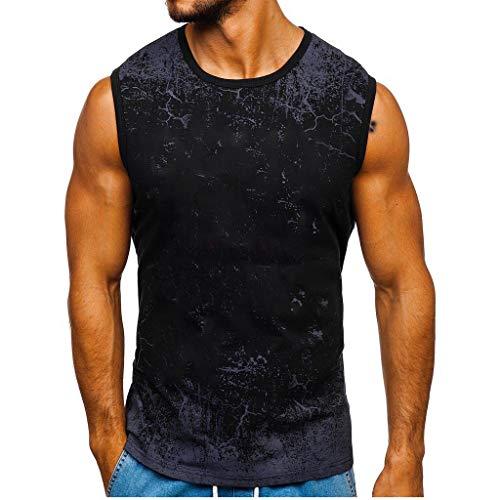 Fenverk Herren Fitness Shape Shirt Figur Formend Training Achselshirts Weste Sauna Schwitzeffekt Tank Top Stark Gym Bodyshape Mit Breit TräGer(Schwarz 2,L)