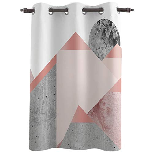 Really Blackout Curtains with Grommet Window Treatments Drapries, Geometric Marble Sunlight Darkening Panels for Bedroom/Living Room 52''W x 45''L, Concrete Wall Background