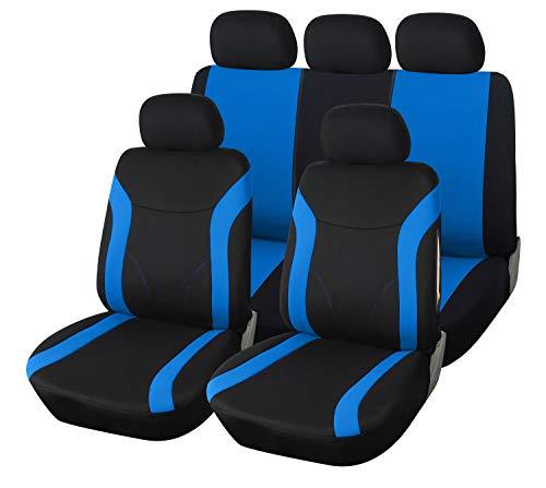 Upgrade4cars Autositzbezüge Set Blau Schwarz Auto-Sitzschoner Universal mit Reißverschluss für die Rückbank Auto-Zubehör Innenraum