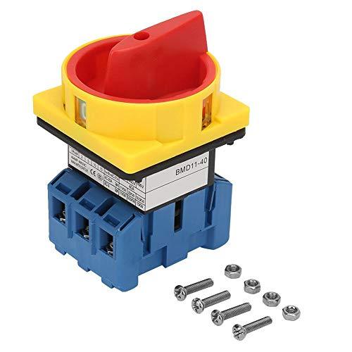 Interruptor de Cambio de Leva Rotativa 40A / 63A Interruptor de Disyuntor de Carga de 3 Polos y 2 Posiciones Interruptor de Encendido/Apagado (40A)