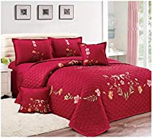 Floral Compressed 6Pcs Comforter Set, King Size, Px-008, Red,