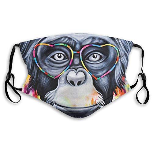Bandana de tela lavable, diseño moderno, reutilizable, para adultos y niños, con 2 filtros, ajustable, mono, con gafas de amor