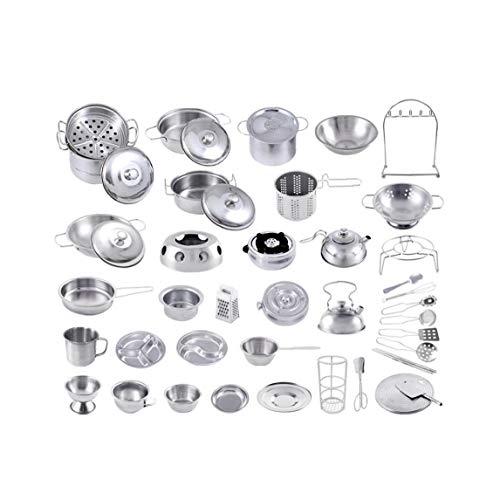 Hiinice 16pcs Kitchen Toys Set Pretend Play Kochgeschirr Töpfe Und Pfannen Aus Edelstahl Lernspielzeug Für Kinder Mädchen Jungen Kleinkinder Komfortable Versorgung