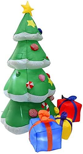 wsbdking Decoración de Navidad Paquete de Regalo de árbol de Navidad de 210 cm de Navidad Altura con DIRIGIÓ Decoración estacional Aireado Airblown Adorno de césped Regalo