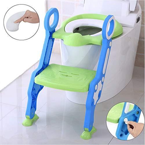 MUYUNXI kindertoiletbril, wc-bril, met antislip-ladder, brede trede en handgrepen stevig, opvouwbaar voor 1-7 kinderen, (blauw + groen) bedpan babytoilet